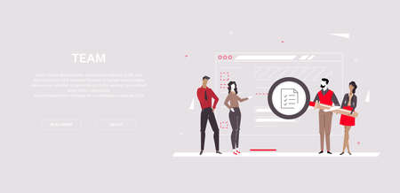 Team - modern flat design style colorful banner on gray background with copy space for your text. A composition with business people holding a magnifying glass, looking at a check list on web page Stockfoto
