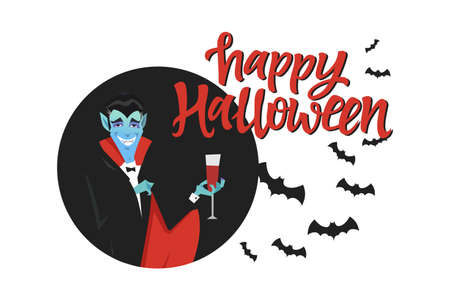 Happy Halloween poster - modern cartoon character illustration on white background with calligraphy red text. Funny vampire in a black coat with a glass of blood, flock of bats. Perfect for banners
