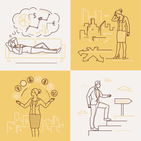 Business concepts - set of line design style illustrations on white and yellow background. Four images of a confident woman and man. Multitasking, decision making, planning, career growth themes Stock Photo