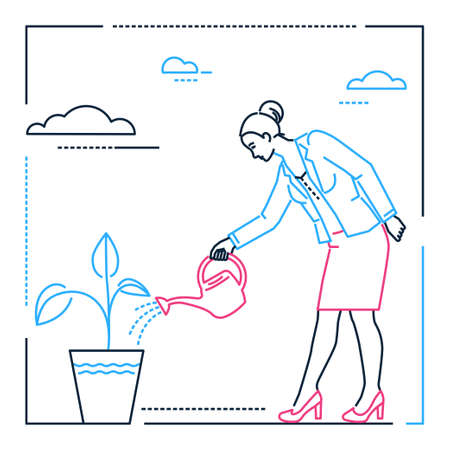 Businesswoman watering the plant - line design style illustration