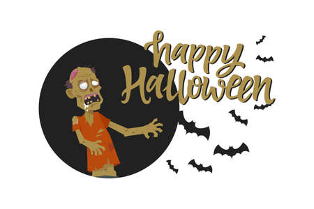 Happy Halloween poster - modern cartoon character illustration on white background with calligraphy text. Composition with creepy zombie and flock of bats. Perfect for banners, presentations