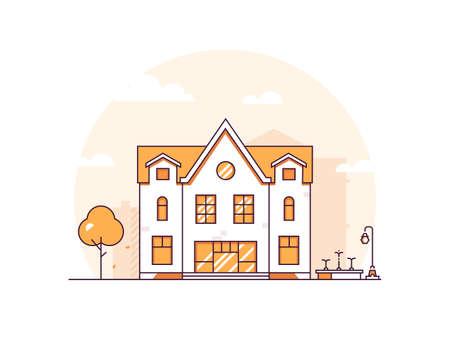 Apartment house - modern thin line design style vector illustration