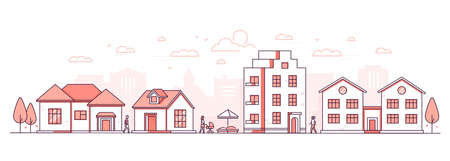 City life - modern thin line design style vector illustration on white background. Red colored high quality composition, landscape with facades of buildings, cottage houses, sandbox, people walking Vetores