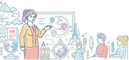 Geography lesson - modern colorful line design style illustration on white background. An image of a female teacher at the board showing globe, world landmarks, countries to students in the classroom