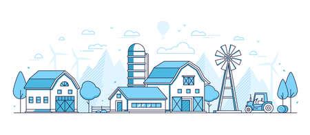Organic farming - thin line design style vector illustration