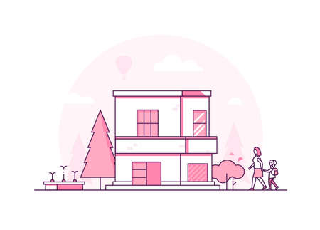 Two storey building - modern thin line design style vector illustration Stock Photo