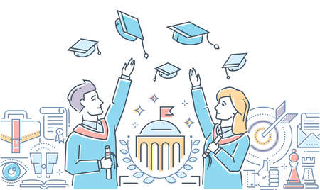 Graduating students - colorful line design style illustration on white background with copy space for text. Happy boy, girl throwing academic caps in the air, certificate, university. school building Illustration