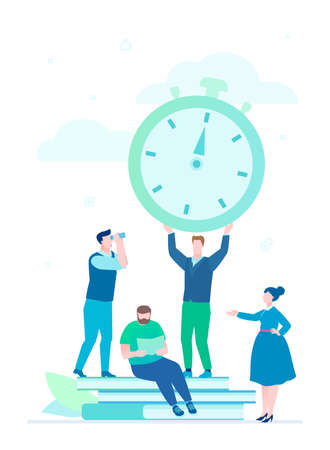 Time management - flat design style illustration on white background. A composition with business team working on a project. An employee holding big timer, clock, man with binocular. Deadline concept Vektoros illusztráció