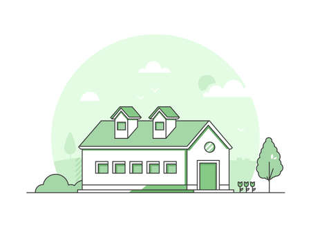 Farm house - modern thin line design style vector illustration on white background. Green colored high quality composition with nice country building, trees, bush, flowers. Suburban, town architecture Stock Illustratie