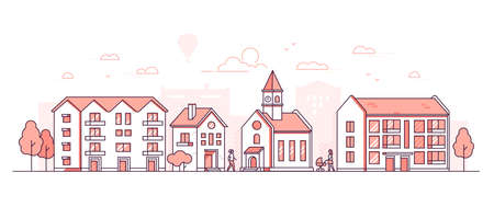 City district - modern thin line design style vector illustration on white background. Red colored composition, landscape with facades of buildings, town hall with clock, trees, people walking