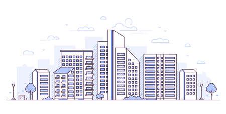 Paysage urbain - illustration vectorielle de style moderne ligne mince design