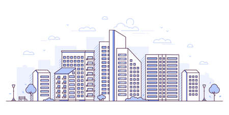 Stadtlandschaft - moderne dünne Linienentwurfsartvektorillustration