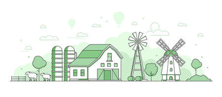 Eco farming - thin line design style vector illustration on white background. Green colored composition with windmill, barn, sheep, haystacks, silage tower, silhouettes of hills, wind power generators Illustration