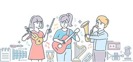 École de musique - illustration de style design ligne colorée. Composition de haute qualité avec des garçons heureux, des filles jouant différents instruments de musique dans un groupe, guitare, saxophone, violon, image de harpe, batterie