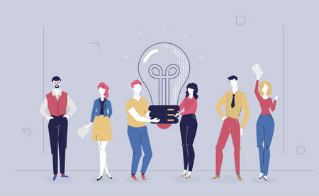 Bright idea - flat design style colorful illustration on gray background. A composition with cheerful colleagues, staff, business people holding a big lightbulb. Teamwork, creativity at work concept Stock Illustratie