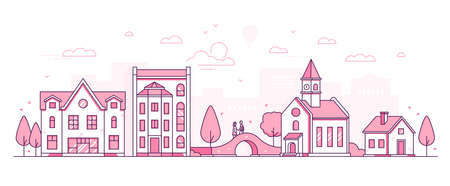 Old town - modern thin line design style vector illustration on white background. Pink colored high quality composition with facades of houses, hall with clock, couple standing on the bridge