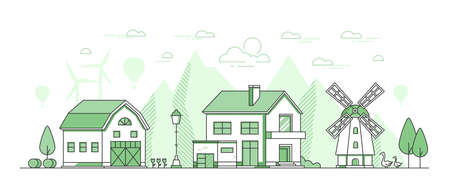 Eco farming - thin line design style vector illustration on white background. Green colored composition with windmill, barn, geese, lantern, haystacks, silhouettes of hills, wind power generators