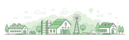 Country landscape - thin line design style vector illustration on white background. Green colored composition with windmill, barn, houses, sheep, haystacks, silage tower, hills. Eco farming concept