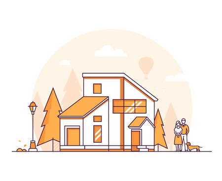 Cottage house - thin line design style vector illustration Illustration