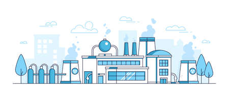 City factory - modern thin line design style vector illustration on white background. Blue colored urban composition with a big plant, pipes, smoke from chimney, trees, building. Industrial concept Illustration