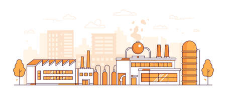 City factory - modern thin line design style vector illustration on white background. Orange colored urban composition with a big plant, pipes, chimneys, trees, buildings. Industrial concept