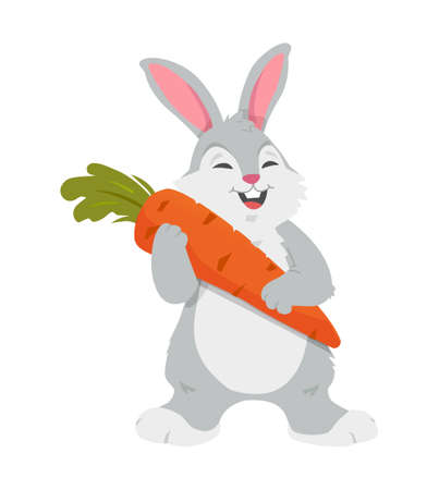Cheerful rabbit with carrot - colorful cartoon character vector illustration isolated on white background. Fluffy farm animal holding a vegetable. Easter symbol. High quality image for banners