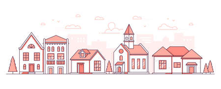 City district - modern thin line design style vector illustration on white background. Red colored high quality composition, landscape with facades of buildings, town hall with clock, trees, shops