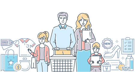Familieneinkauf - moderne bunte Linienentwurfsartillustration auf weißem Hintergrund. Eine Komposition mit jungen Eltern mit Kindern. Warenkorb, Bilder von Produkten, Einkaufsliste. Rabatt, Verkaufskonzept