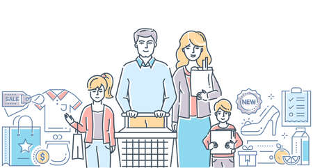 Family shopping - modern colorful line design style illustration on white background. A composition with young parents with children. Cart, images of products, buying list. Discount, sale concept