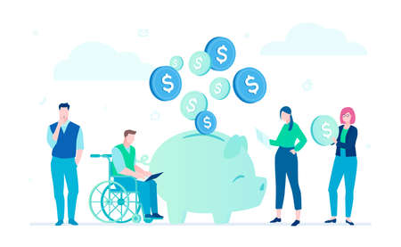 Saving money - flat design style illustration on white background. A composition with business team standing around a piggy bank, woman holding a coin. Disabled man in wheelchair working at laptop Standard-Bild - 109928991