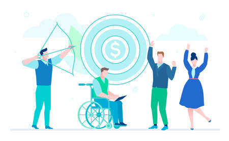 Business goals - flat design style illustration on white background. A composition with team celebrating success, image of a manager hitting the target. Disabled man in wheelchair working at laptop Foto de archivo - 109928992
