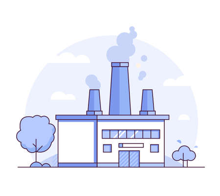 Factory - modern thin line design style vector illustration on white background. Purple colored high quality composition with a plant, pipes, smoke from chimney, tree. Industrial concept Archivio Fotografico - 109928995