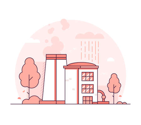 Factory - thin line design style vector illustration on white background. Red colored high quality composition with a plant, pipes, smoke from chimney, tower, tree. Industrial concept Archivio Fotografico - 109928996