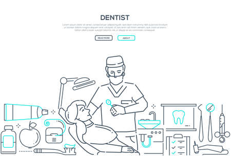 Dentist at work - modern line design style web banner on white background with copy space for text. Composition with male doctor in overall and a young woman, patient in a dental chair, equipment