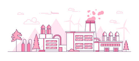 Factory - modern thin line design style vector illustration on white background. Pink colored image with a big plant, pipes, silhouettes of mountains, wind power generators. Industrial, eco concept
