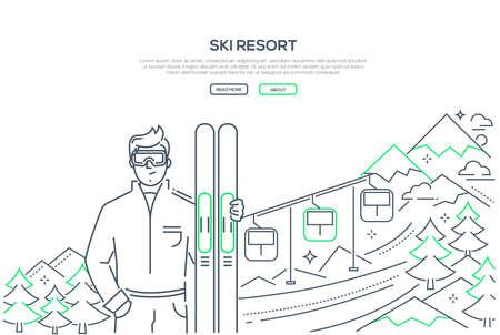 Ski resort - modern line design style banner