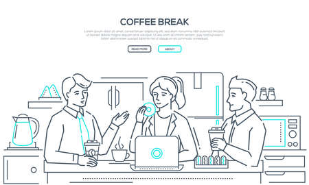 Coffee break - modern line design style banner on white background with copy space for your text. Business people, colleagues, staff having lunch, drinking, eating donuts in the office kitchen Banco de Imagens - 109810909