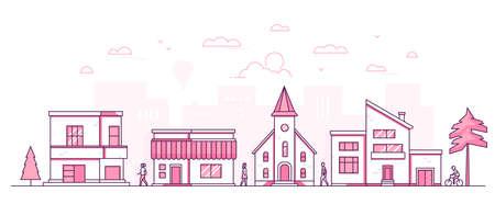 Town street - modern thin line design style vector illustration Stock Photo