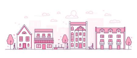 City street - modern thin line design style vector illustration
