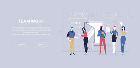 Team work - flat design style colorful banner
