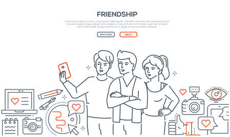 Friendship - line design style vector web banner on white background with copy space for text. High quality composition with young people making selfie. Images of gadgets, likes, camera, smartphone