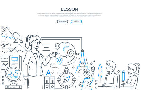 Geography lesson - modern line design style banner on white background with copy space for text. A female teacher at the board showing globe, world landmarks, countries to students in the classroom