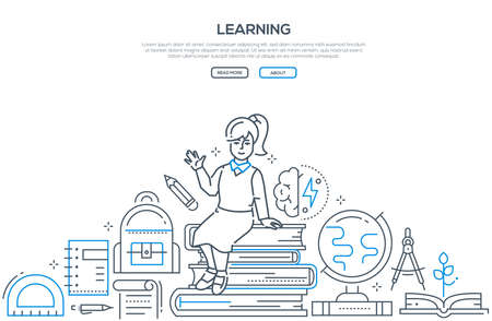 Learning - modern line design style vector banner. High quality composition with happy girl sitting on a pile of books, images of globe, divider, bag, different supplies. School, education concept Stock Vector - 109773927