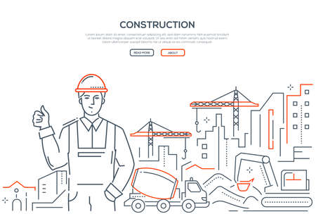 Construction - colorful line design style web banner on white background with copy space for text. A composition with a smiling male worker in helmet and building site, cranes, excavator,