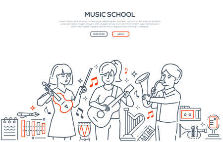 Music school - modern line design style vector banner. High quality composition with happy boys, girls playing different musical instruments in a band, guitar, saxophone, violin, images of harp, drums Stock Vector - 108614327
