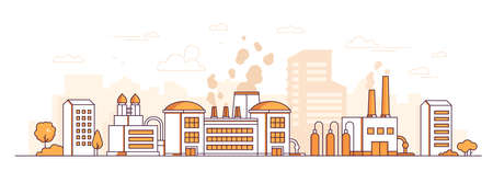 Factory - modern thin line design style vector illustration on white background. Orange colored urban composition with a big plant, pipes, chimneys, trees, city buildings. Industrial concept Archivio Fotografico - 109773931