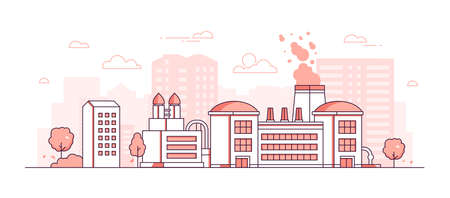 Factory - modern thin line design style vector illustration on white background. Red colored urban composition with big plant, pipes, chimneys, trees, silhouettes of city buildings. Industrial concept Archivio Fotografico - 109773932
