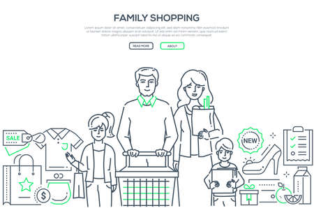 Family shopping - modern line design style banner on white background with copy space for text. A composition with young parents with children, cart, images of products, buying list. Discount, sales Иллюстрация