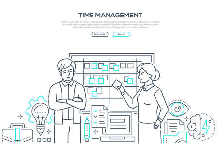 Time management - modern line design style banner on white background. Business colleagues discussing the tasks, plans, terms standing at kanban. Linear images of documents, lightbulb, brain