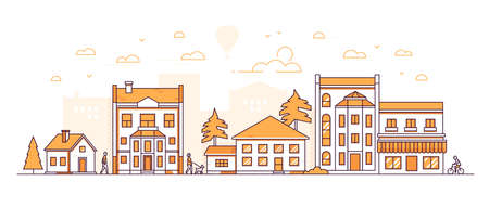 City block - modern thin line design style vector illustration on white background. Orange colored composition, landscape with facades of apartment buildings, shops, trees, people walking, cycling Illustration